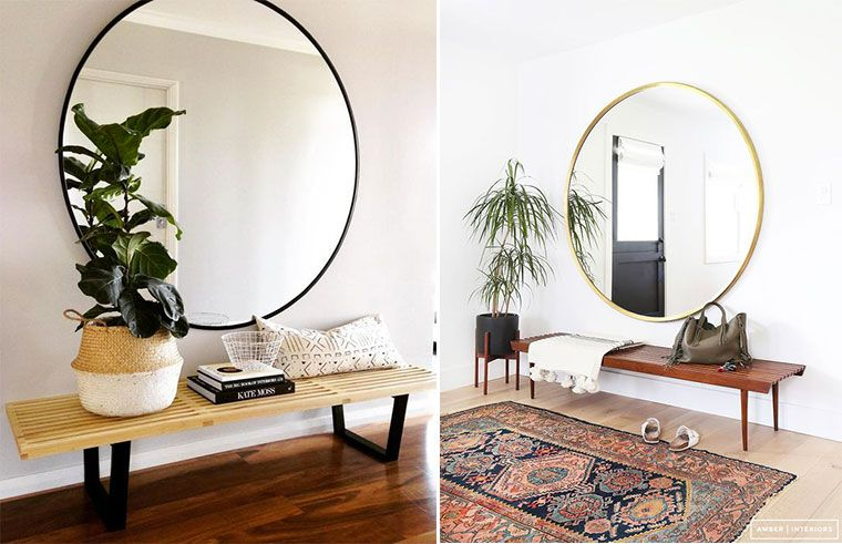 inspiration d coration entr e rangement accessoires couleurs un grand miroir rond pour. Black Bedroom Furniture Sets. Home Design Ideas