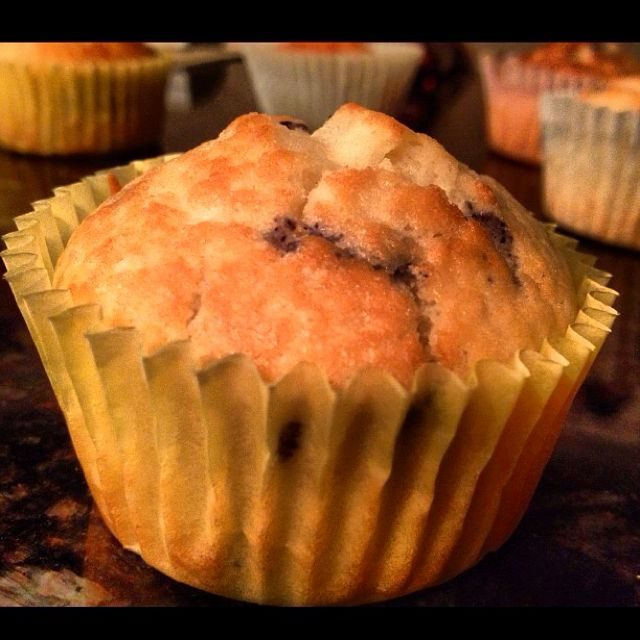 Vegan Blueberry muffins! Believe it or not, the Dollar Tree by my house happened to have vegan mix!