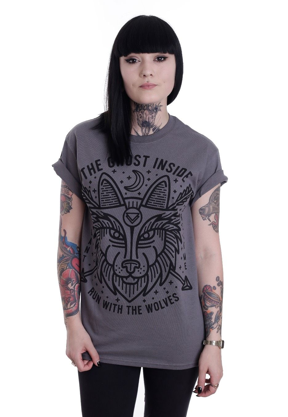 Checkout this out: The Ghost Inside - Run With The Wolves Charcoal - T-Shirt for 17,99€