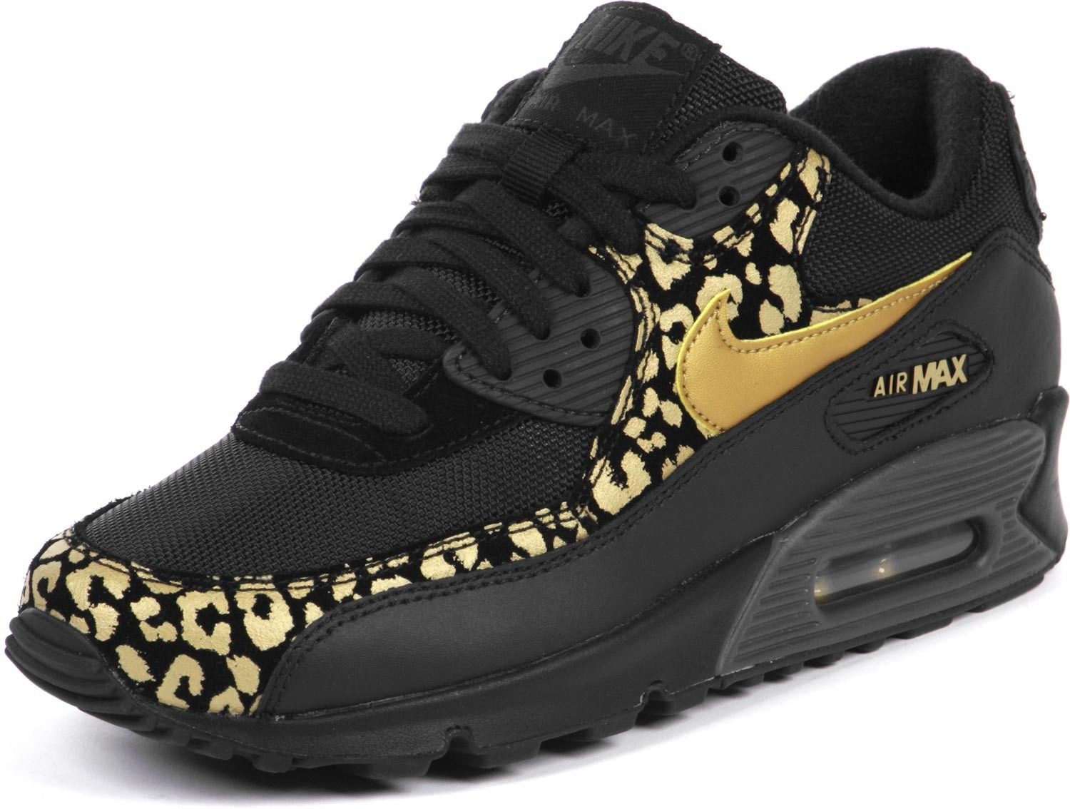 nike wmns air max 90 black gold leopard women's shoes