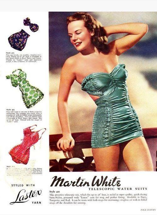 22de181391958 1937 Martin White Telescopic Swim suit with Lastex via Glamoursplash ...