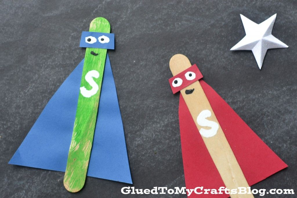Popsicle stick superheroes kid craft superheroes for Popsicle crafts for kids