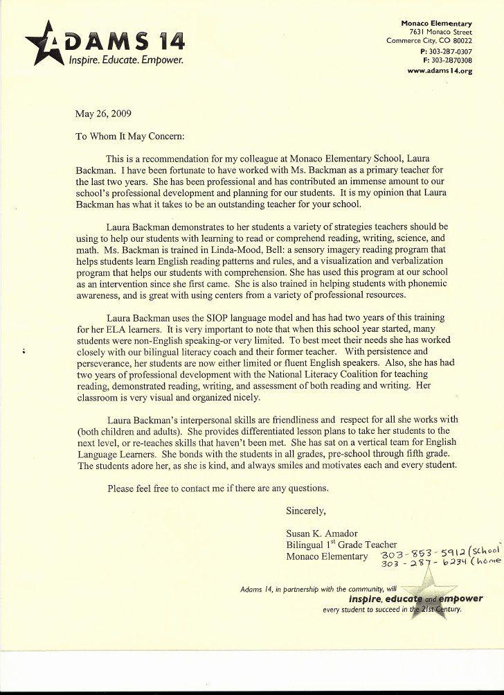 40 Letters Of Recommendation For Teachers Teacher Letter Of