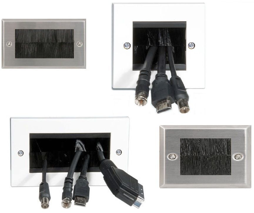 Brushed Steel Brushed Socket For Scart Lead Hdmi Cables Flatscreen Tv Wall Plate Ebay Tv Wall Plates On Wall Sockets
