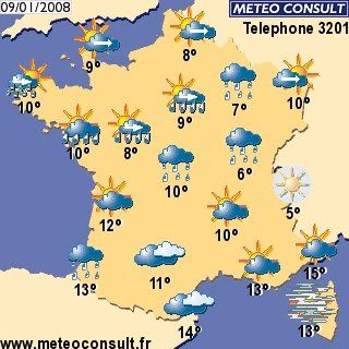 Carte Meteo France 09 01 2008 French Lessons Teaching French