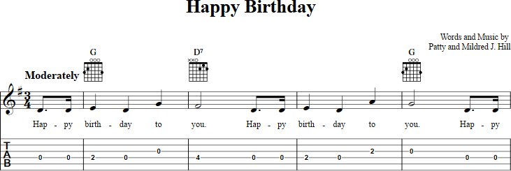 Happy Birthday Sheet Music For Guitar With Chords Lyrics And Tab
