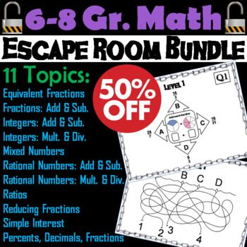 Math Escape Room Bundle 6th 7th 8th Grade | Math, 8th ...