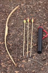 Handcrafted Traditional Youth Training Bow made of Hickory 3, 6 0r 12 Arrows and Quiver