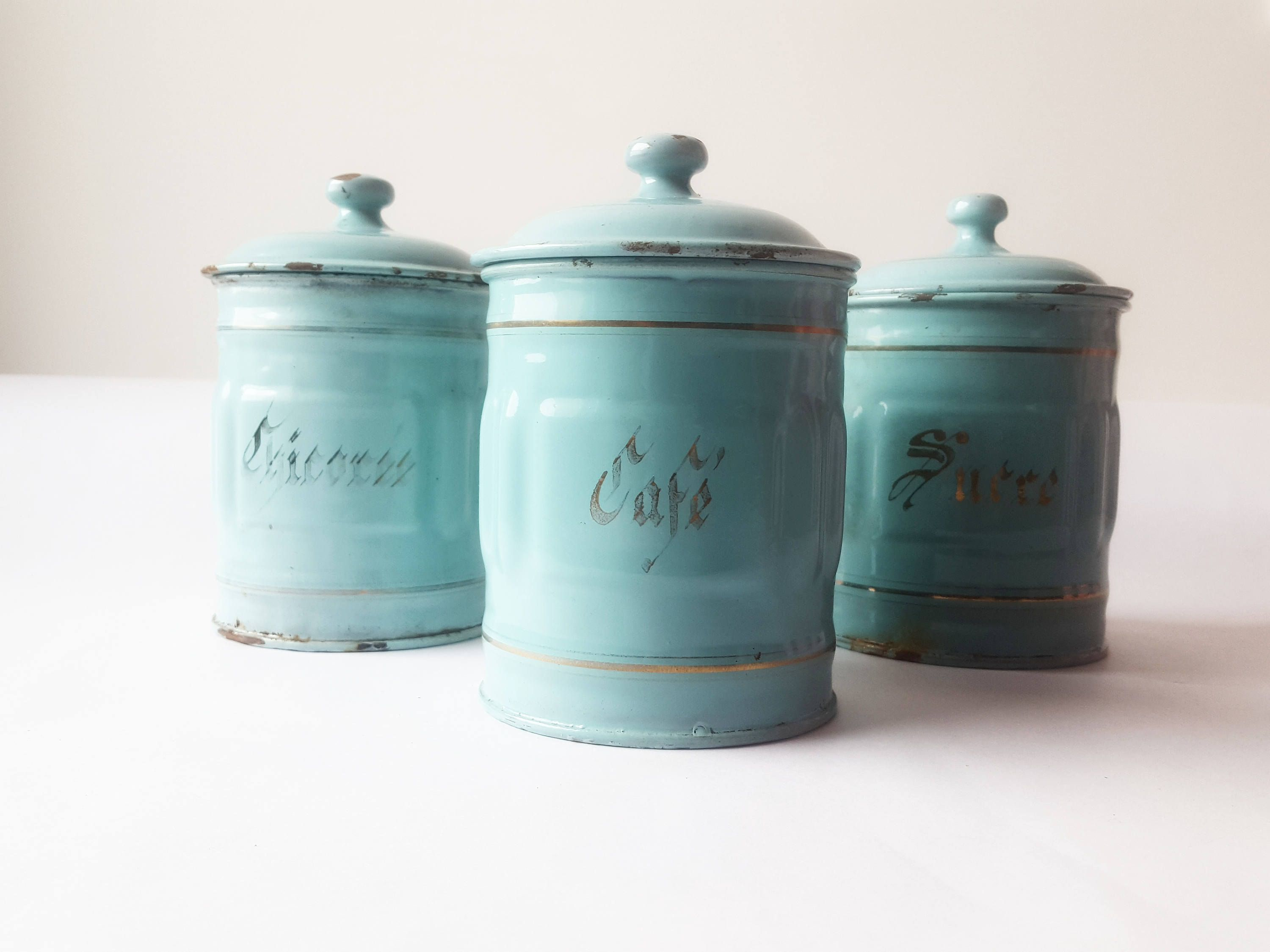 1930\'s French Kitchen CANISTERS SET of 3, mint green/ French ...