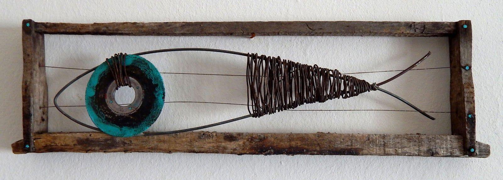 pez, fish, alambre, chatarra, arte, art, alambre, madera, reciclado ...