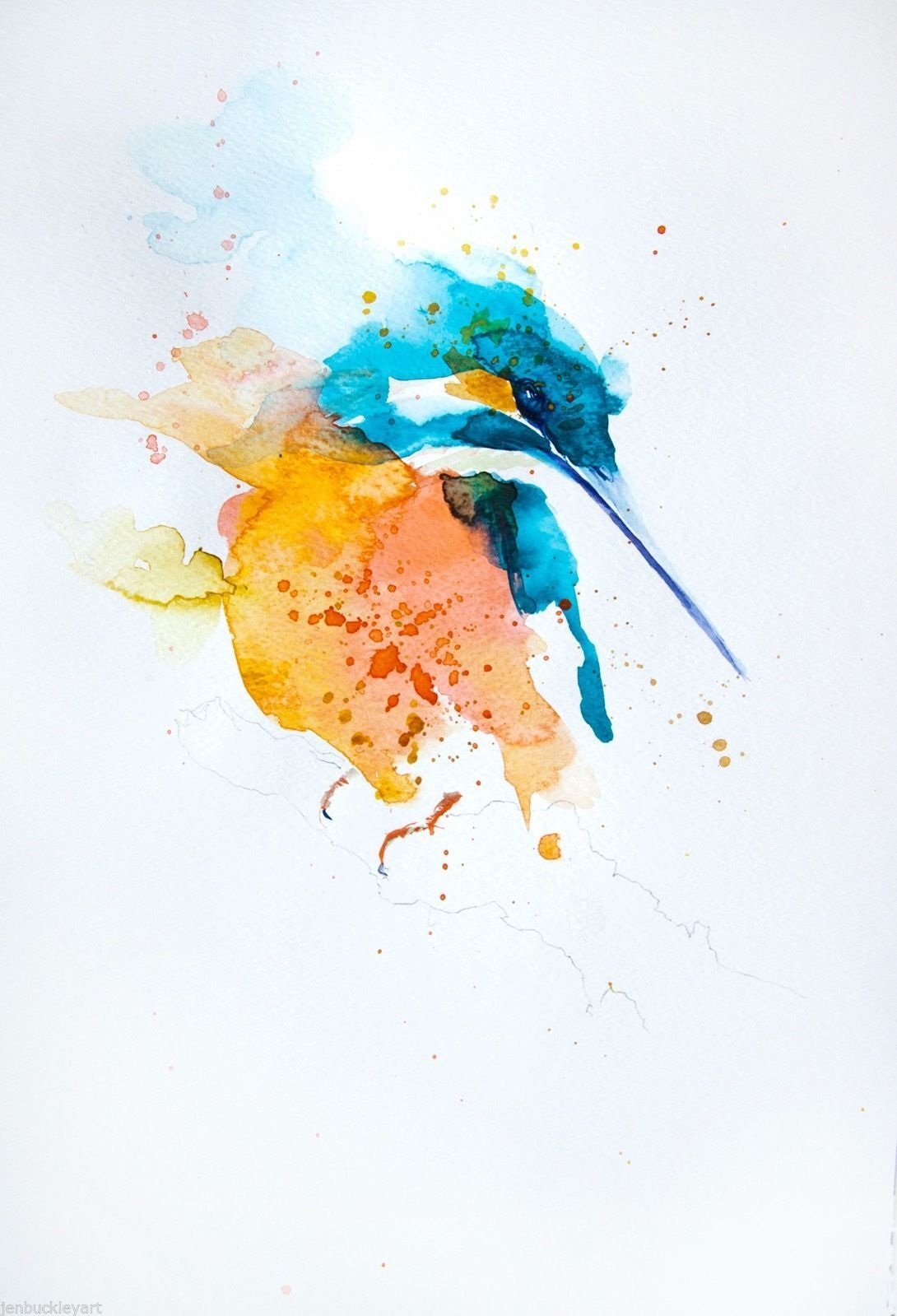 Jen Buckley Kingfisher Watercolor Artists Watercolor Bird