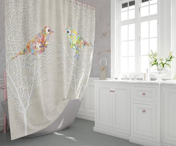 Beige Bathroom Decor Bird Shower Curtain Beige Shower Curtains