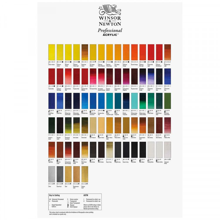 Winsor Newton Hand Painted Professional Acrylic Colour Chart