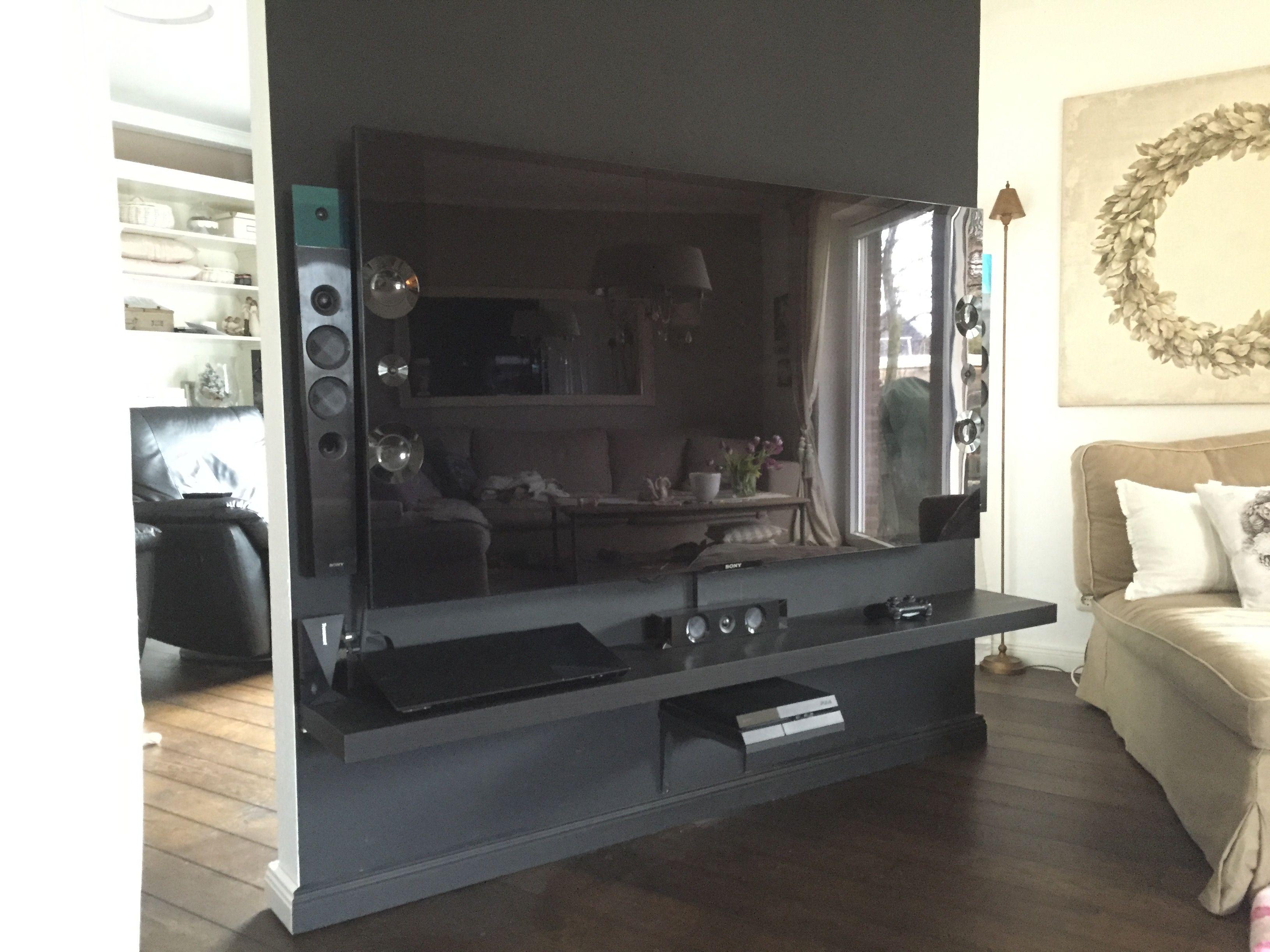 raumteiler tv wand tv mobel lappland schwarzbraun