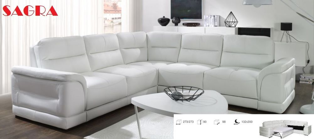New Leather Corner Sofa Zaragoza White Grey Brow Black Fabric 2 3 Seater Sagra Leather Corner Sofa Corner Sofa Sofa Ebay
