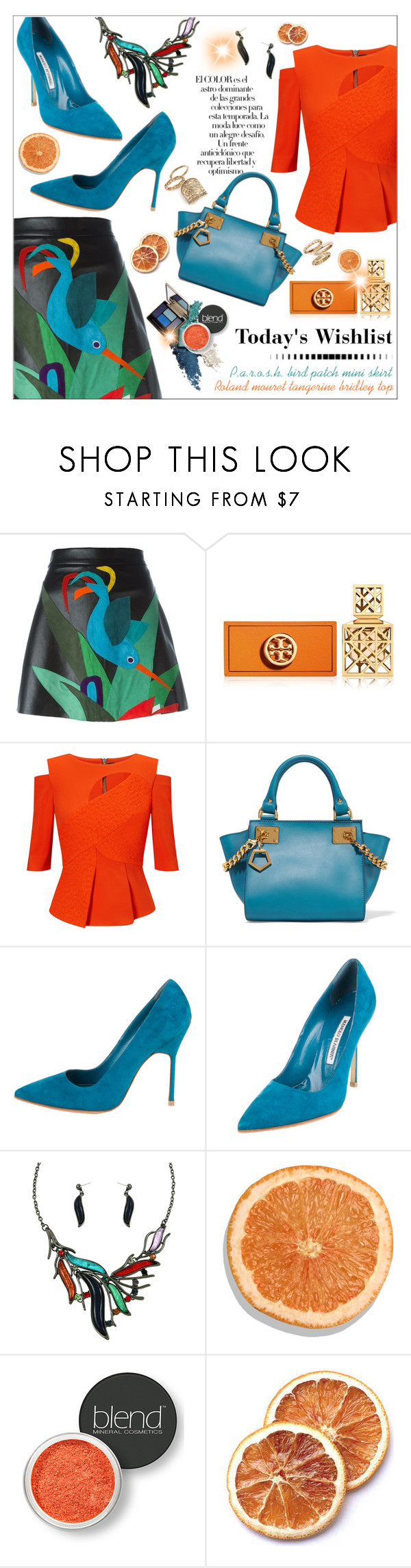 """Untitled #141"" by smaeri ❤ liked on Polyvore featuring P.A.R.O.S.H., Tory Burch, Arco, Roland Mouret, Sophie Hulme, Manolo Blahnik, Blend Minerals and Topshop"