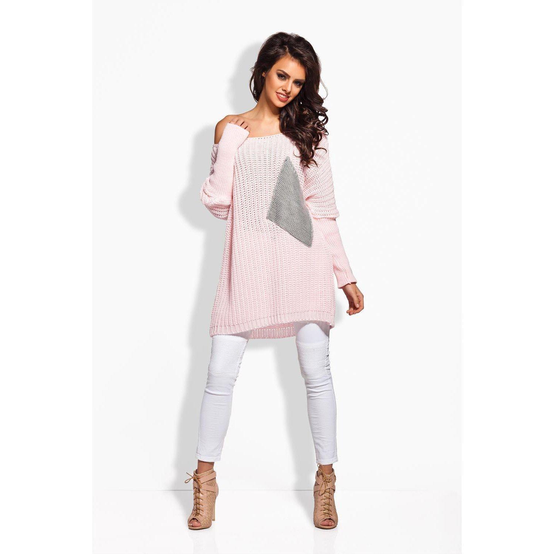 Pink Plus Sized Sweater With Big Pocket LAVELIQ