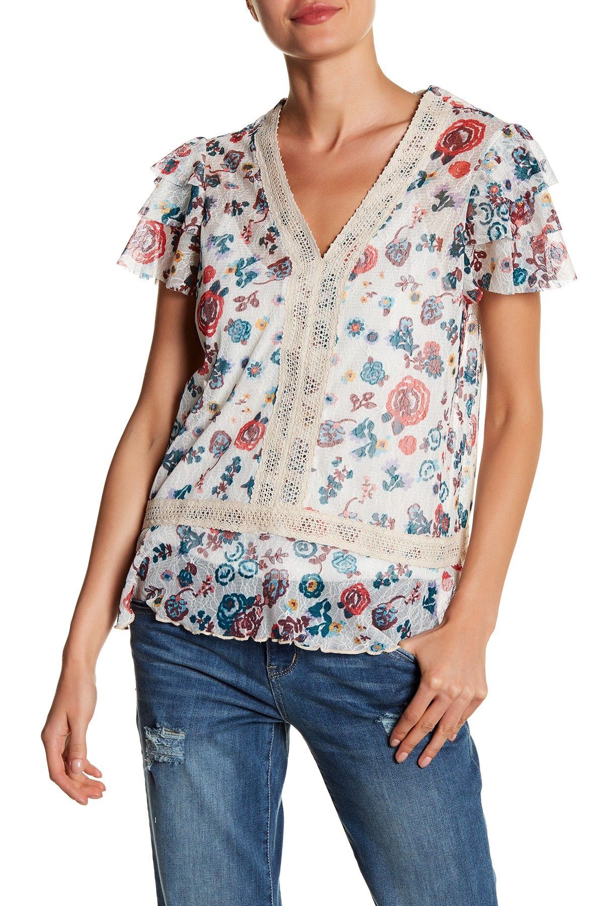 Flannel shirt apron  VNeck Tiered Sleeve Lace Shirt  Products