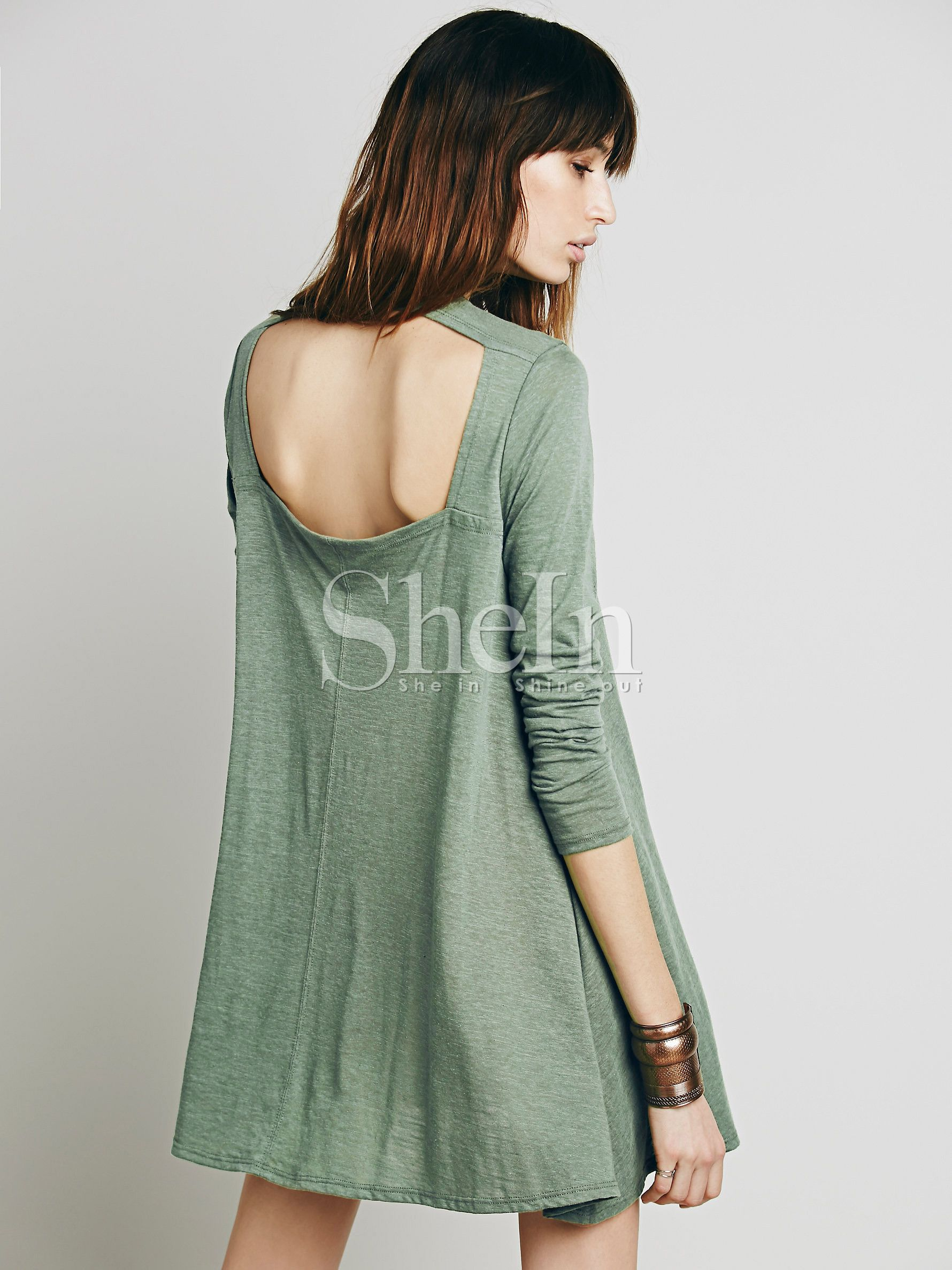 Green long sleeve backless casual dress dress online clothes and
