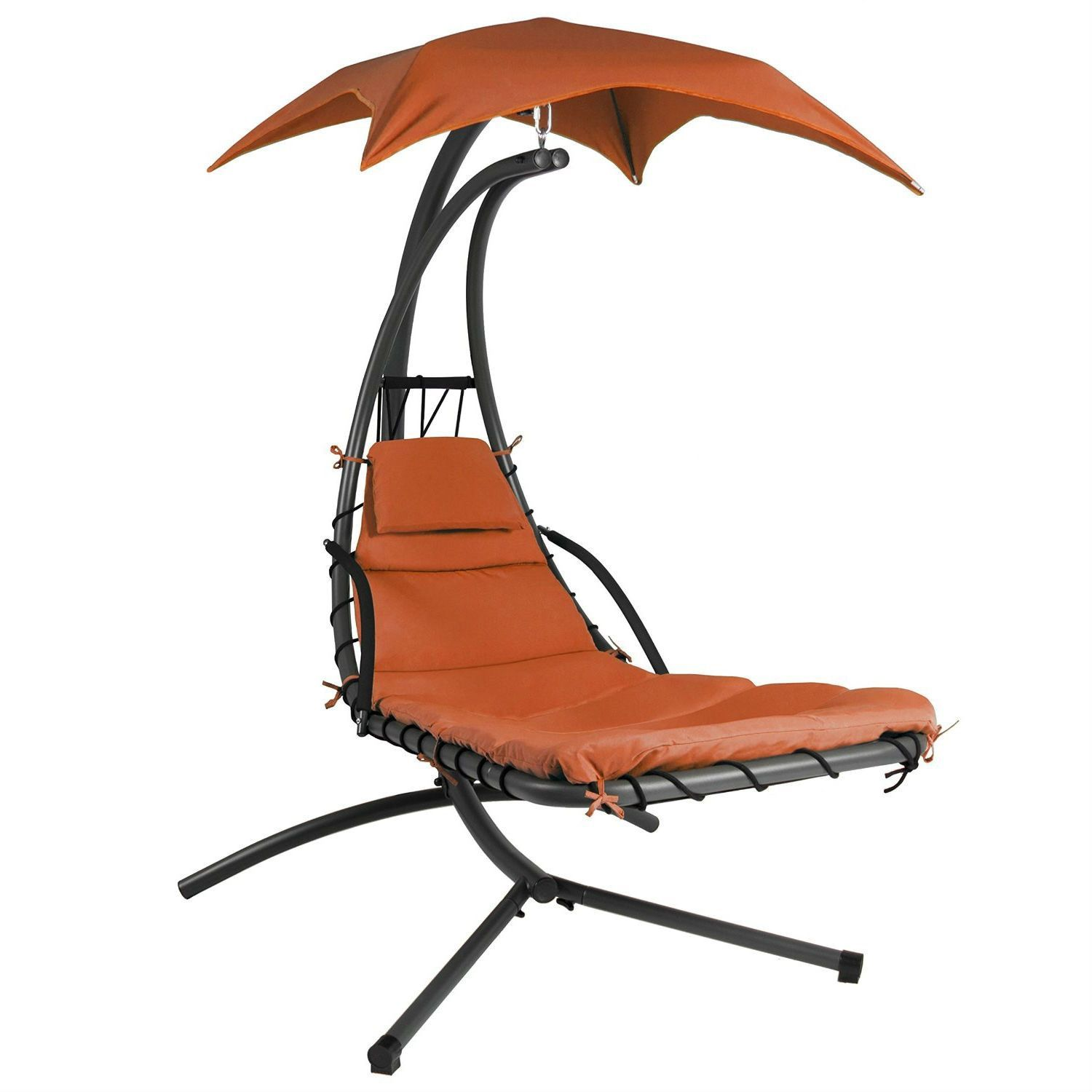 Orangered single person sturdy modern chaise lounger hammock chair