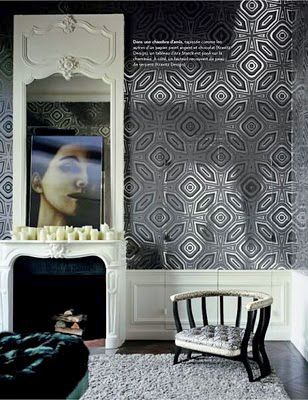 modern wallpaper in classic interior