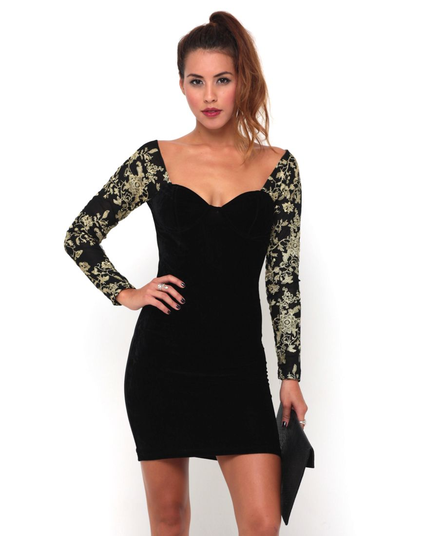 Motel Nicola Velvet Bodycon Dress in Black and Gold, TopShop, ASOS ...