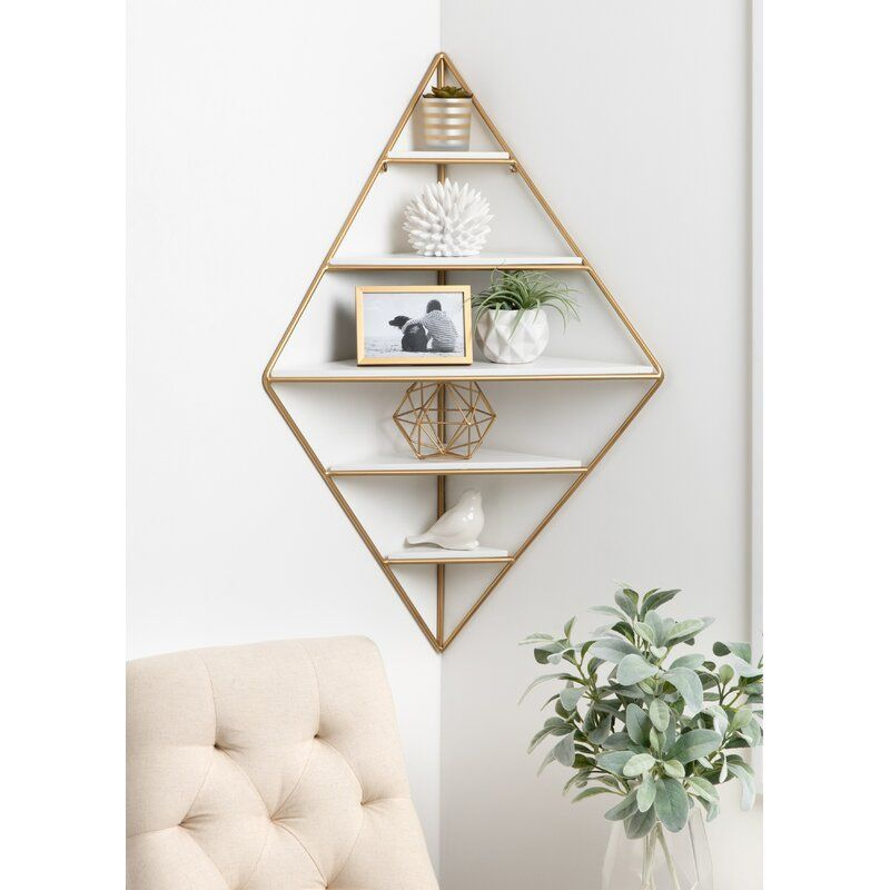 Leroy Decorative Mid Century Modern 5 Piece Diamond Corner Shelf