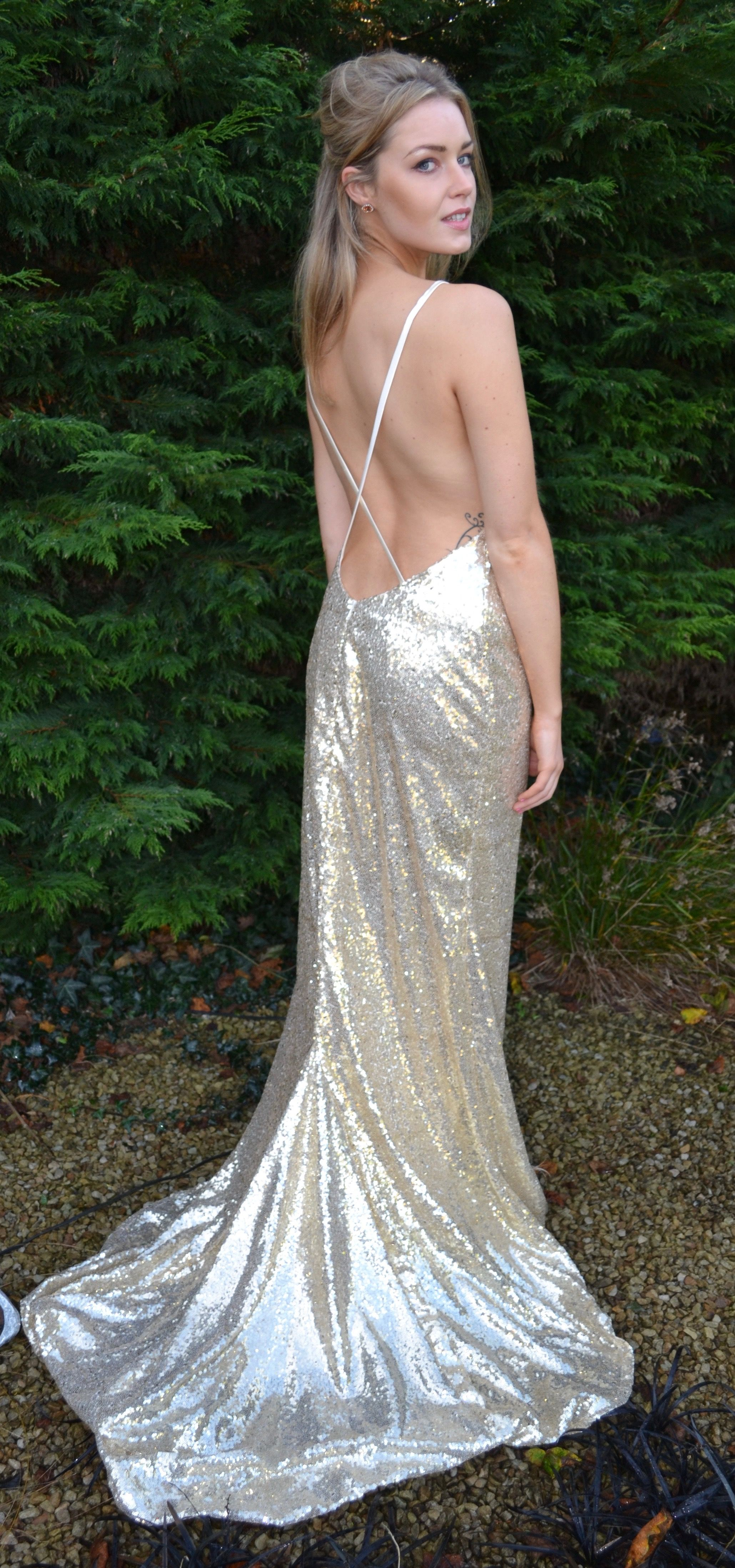 Leah open back full sequin gown custom couture gown