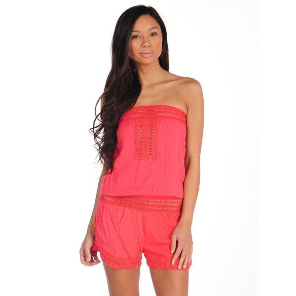 c1e66bc1ab Surf Gypsy by Vintage Havana Gauze Tube Romper (46 AUD) ❤ liked on Polyvore  featuring jumpsuits
