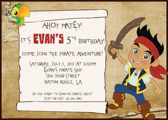 custom jake and the neverland pirates invitation / pirate, Invitation templates