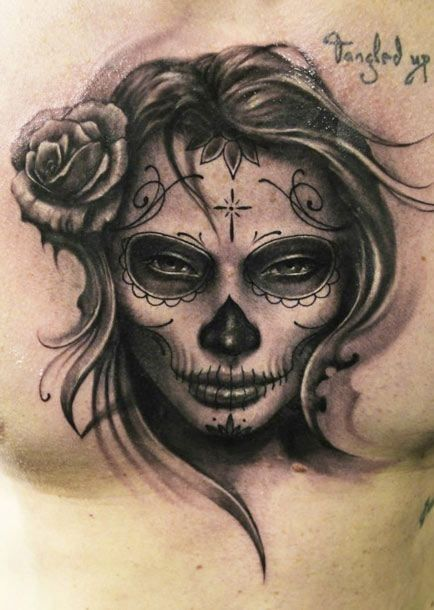 Awesome Grey Ink Day Of The Dead Tattoo On Chest