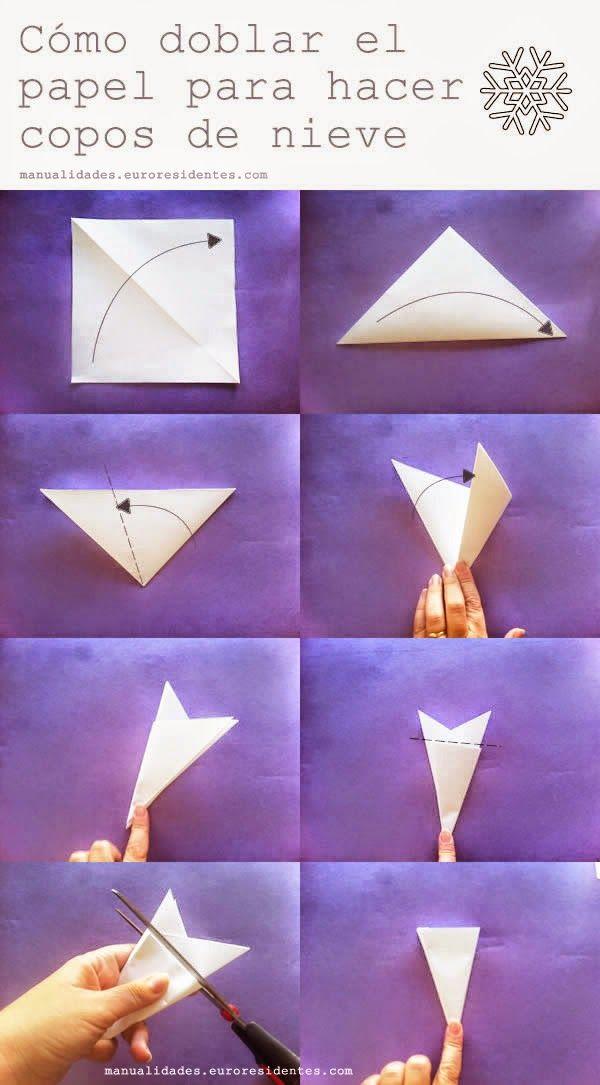 C mo hacer copos de nieve de papel f cil origami - Manualidades navidad papel ...