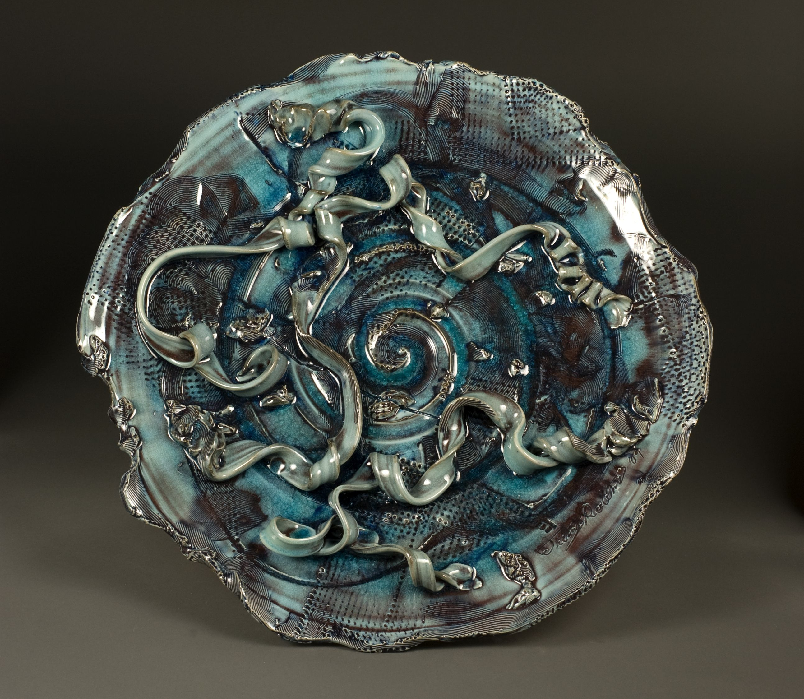 Artist Tierney Rollins Platter 22 By 3 High Fired Gas Reduction White Stomeware Decorative Wall Platter Artsintheheart Pottery