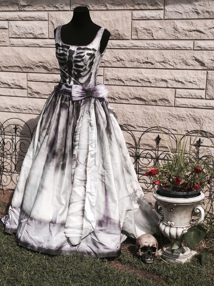 Zombie Skeleton Wedding Dress Costume Corpse Bride Hand Painted