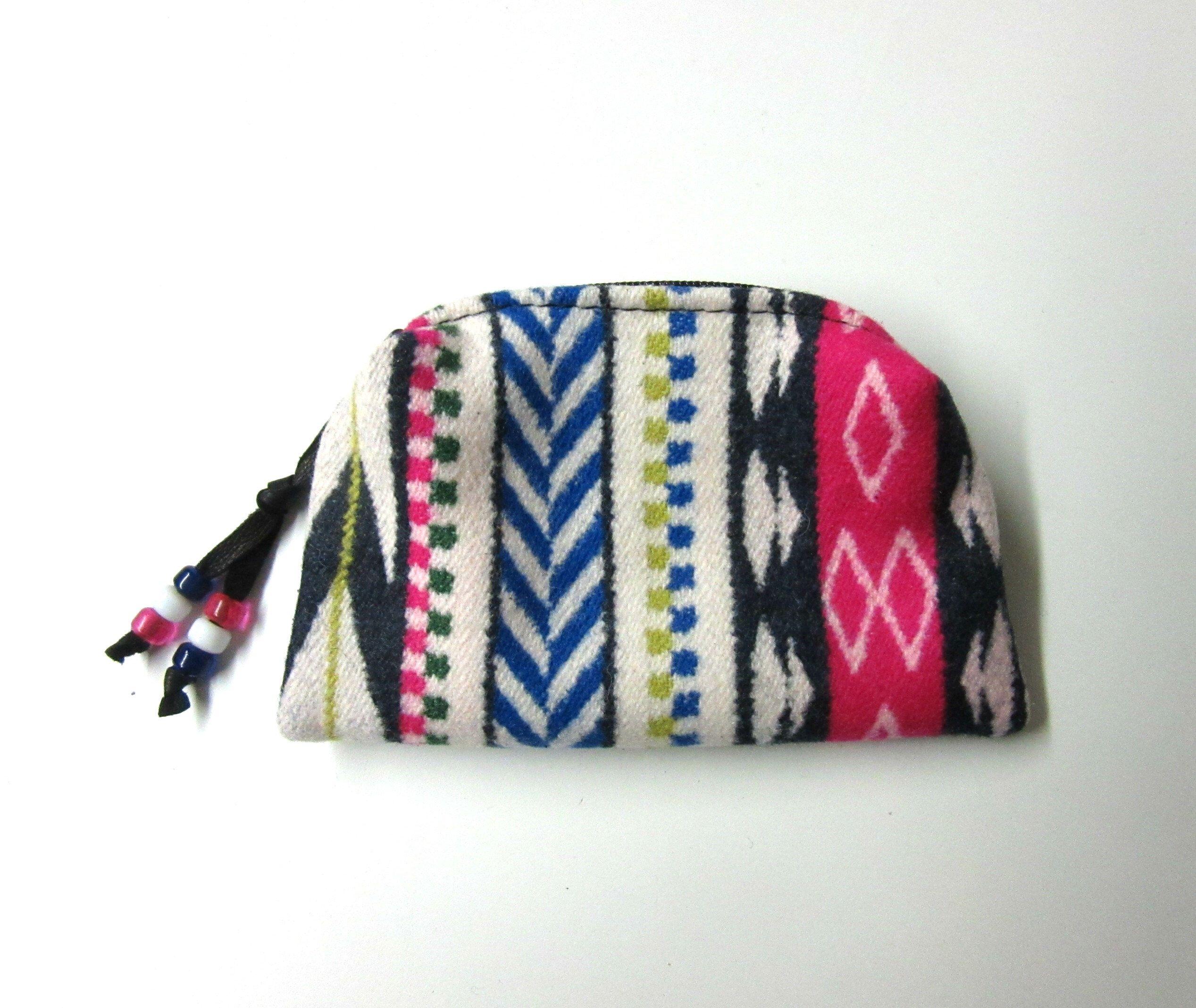 Wool zippered pouchchange purse