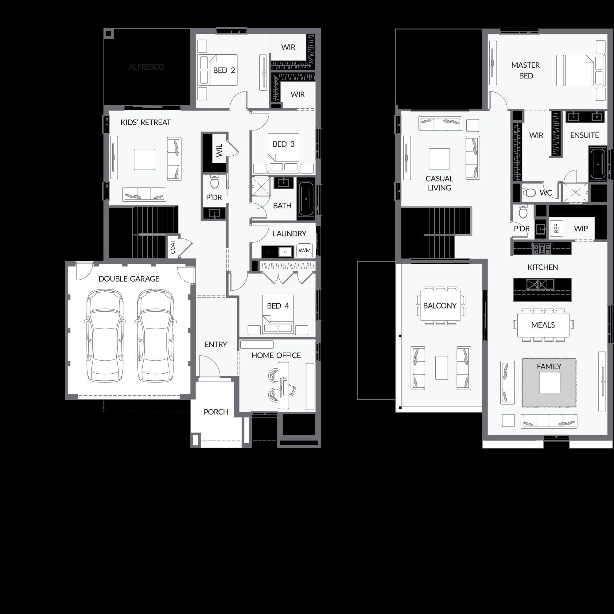 2 Story House Plans Kitchen Upstairs in 2020 House plans