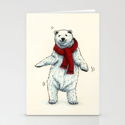 "Stationery Cards ""The polar bears wish you a Merry Christmas"" by Savousepate #christmascard #xmascard #christmas #xmas #polarbear #bear #dancing"