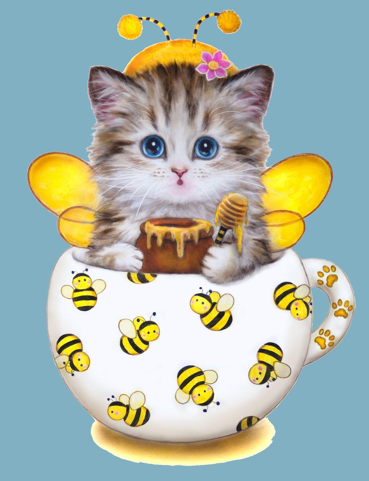 Открытка с изображением котенка, открытка именинами ольги