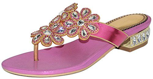 59fa88ecae7b YooPrettyz Rhinestone TStrap Slide Leather Vocation Beach Sandal Flowers  Deco Thong Sandal Pink 11     You can get more details by clicking on the  image.
