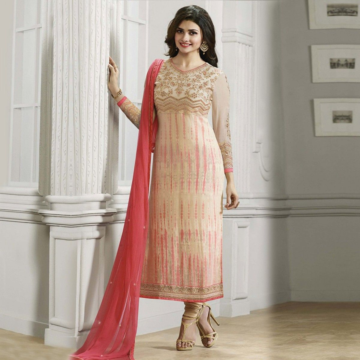 Buy Cream Straight Cut Designer Suit Online Women Ethnic Wear at ...