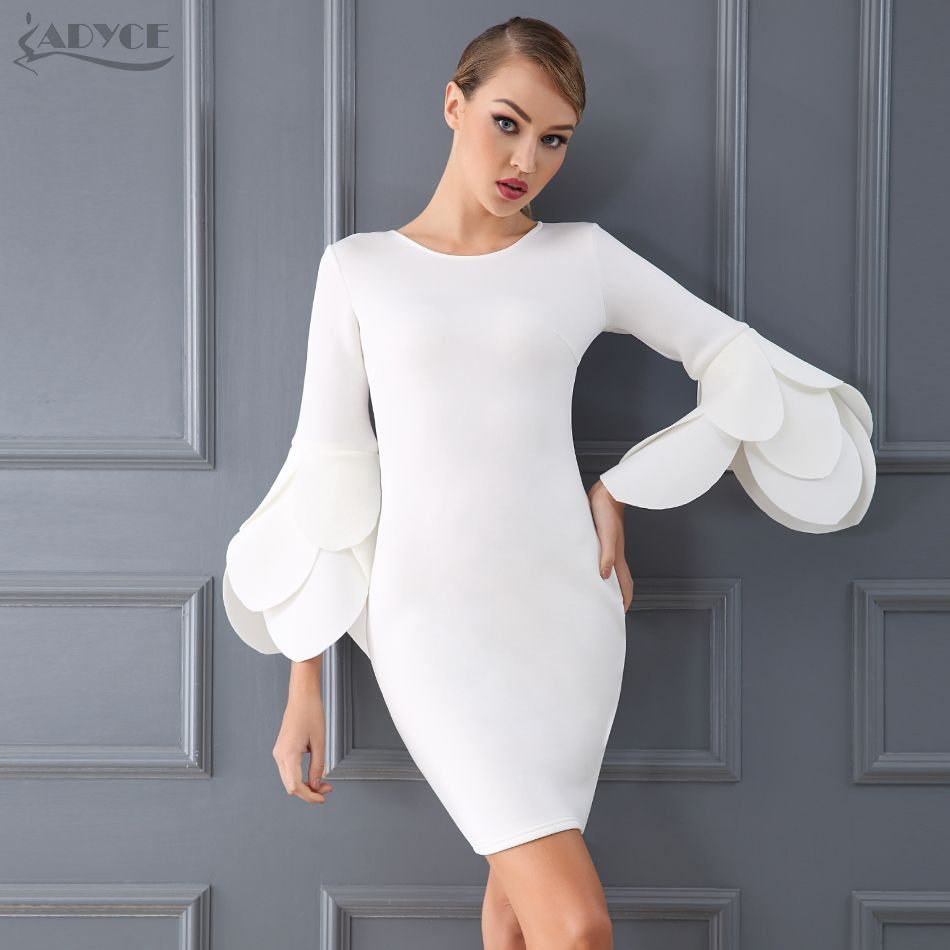 Adyce New Celebrity Evening Party Women Dress Vestido De Festa Sexy 2018  Spring Casual Black Bodycon Dress Knee Length Clubwear a6dbd36104fdc