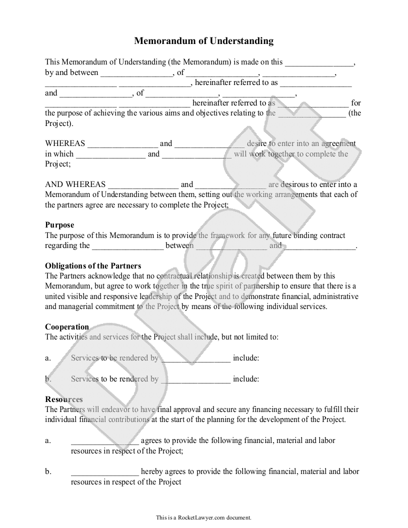 Memorandum Of Understanding Template  Mou Form  Free With Sample