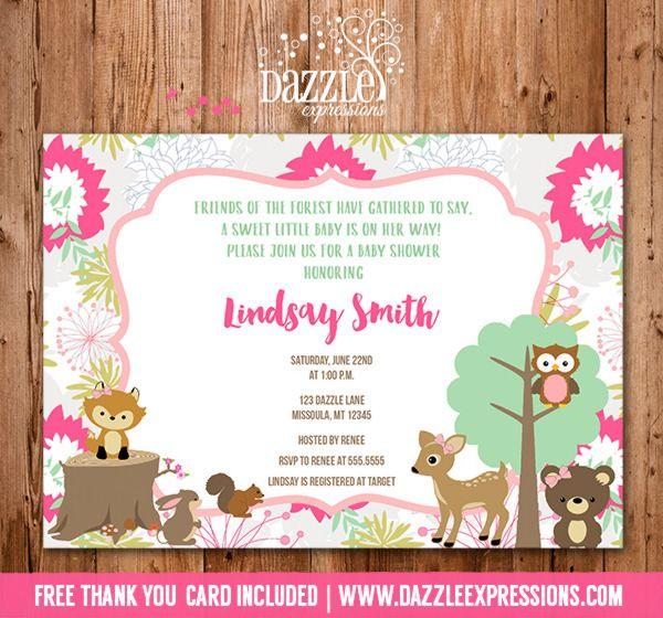 baby girl woodland invites Woodland Girl Baby Shower Invitation 2 - best of invitation for 1st birthday party free