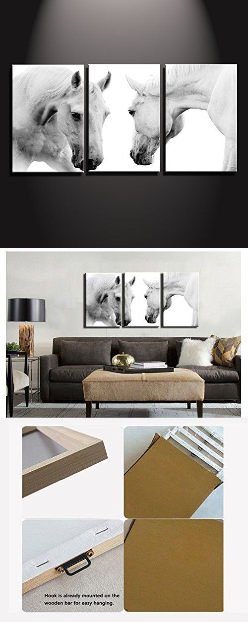 3 Panles Horses Canvas Wall Art White Horse Art Prints Posters For Living Room Home Wall Decor Stretched Ready To Hang 20x30inchx3 50x75cmx3 Horse Wall Art Canvases Horse Art Print Horse Art #wall #posters #for #living #room