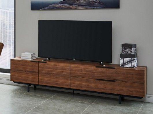 Meuble Tv Tayron 200cm 2 Portes 2 Tiroirs Mdf Pieds Metal Coloris Noyer Meuble Tv Mobilier De Salon Meuble