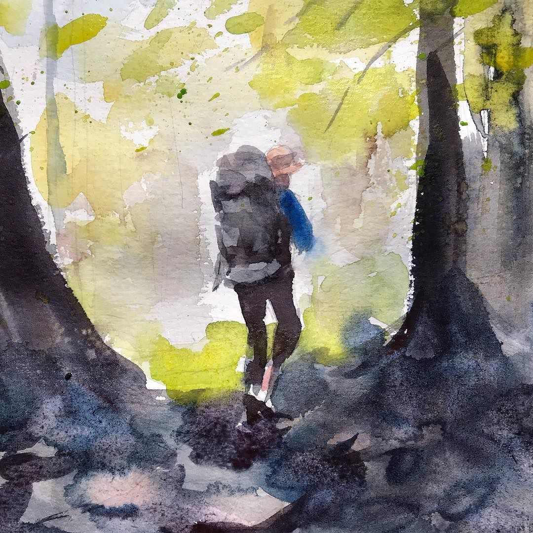 Watercolor Hiker Painting Hiking Hikingadventures Hiker