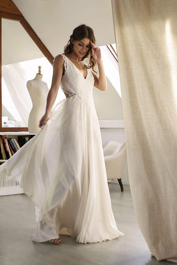 fbcb7a8823 Tulle Deep V neck Evening Dress, Bcakless sxy Long Prom Dress,Beach Wedding  Dress ,formal dress classic on Storenvy