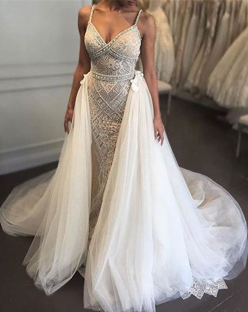 2017 wedding dress, lace wedding dress, straps long wedding dress with train