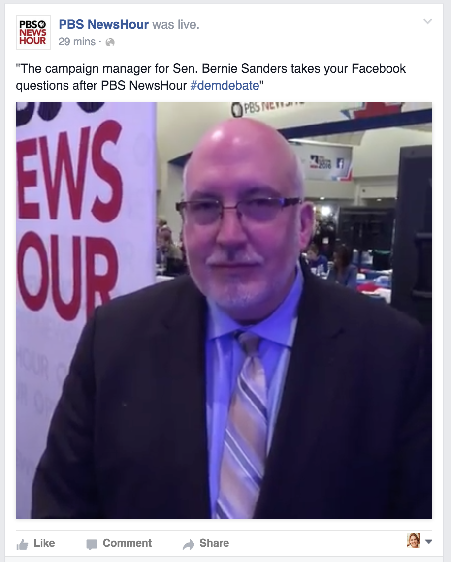 PBS FB Live Debate Spin Room with Sanders' campaign manager