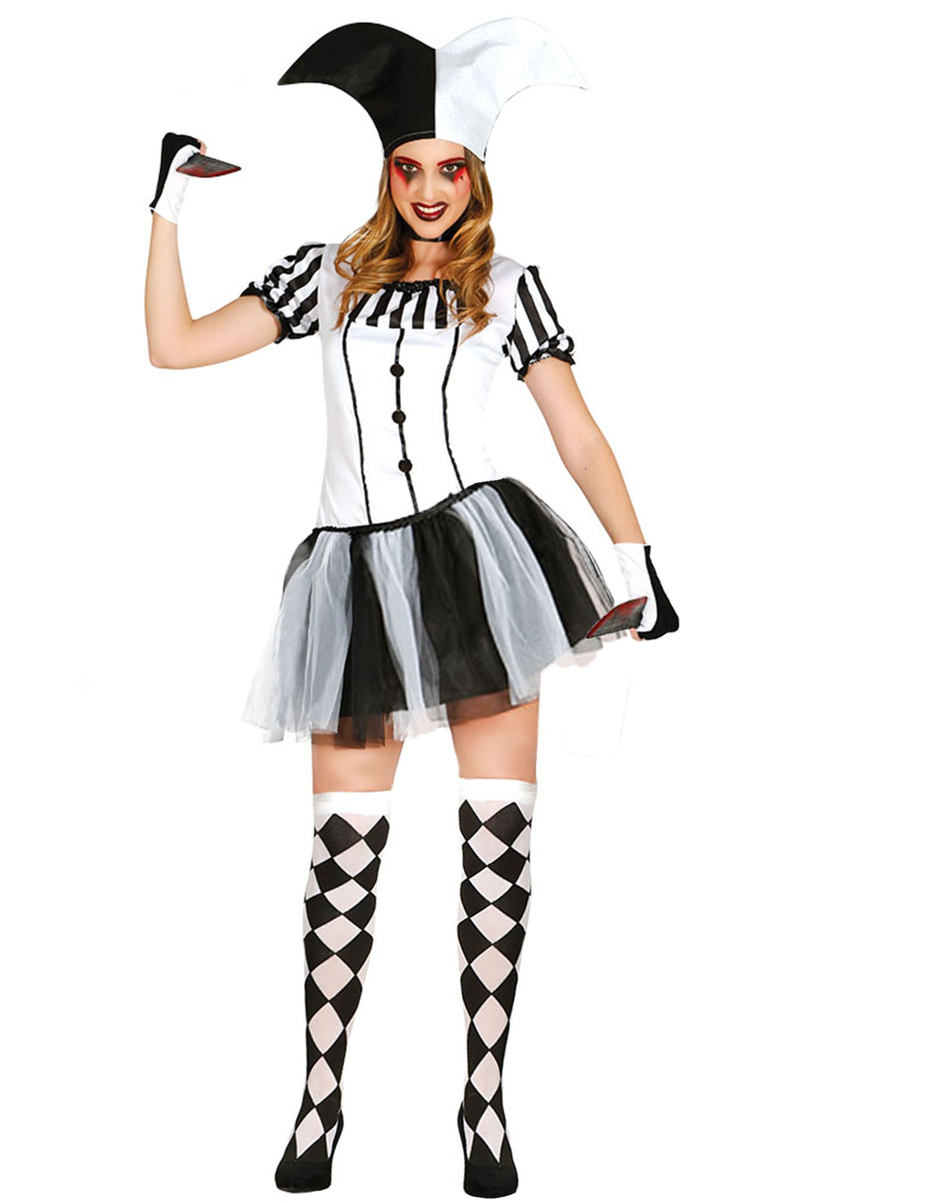 Déguisement arlequin noir et blanc femme   Ce déguisement d arlequin pour  femme se compose 531bed756ada